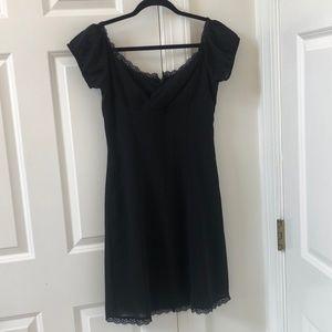 Arden B. black dress with lace edges